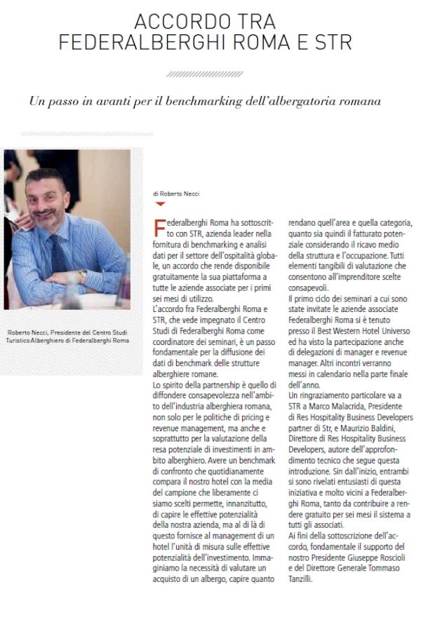 Accordo tra Federalberghi Roma e STR